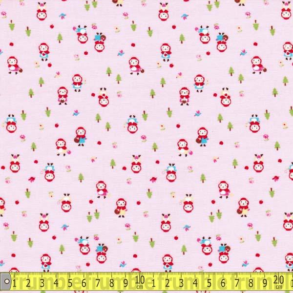 Minny Muu Cat Little Red Riding Hood Pink Fabric by Lecien