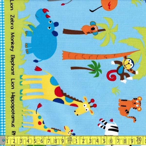 Nico Nico Land Zoo Animal Border Fabric by Lecien