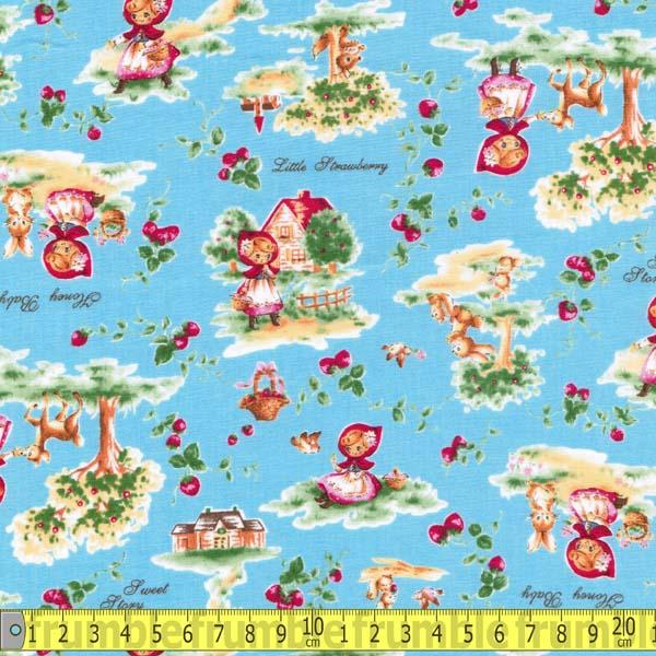 Little Red Riding Hood Retro Blue - Frumble Fabrics