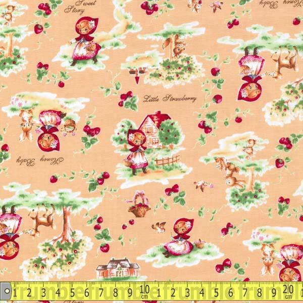 Little Red Riding Hood Retro Orange Fabric by Lecien