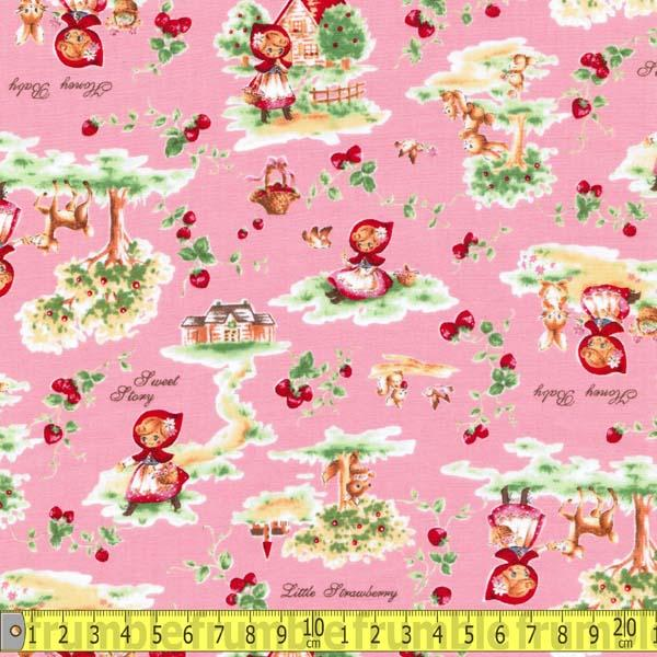 Little Red Riding Hood Retro Pink Fabric by Lecien