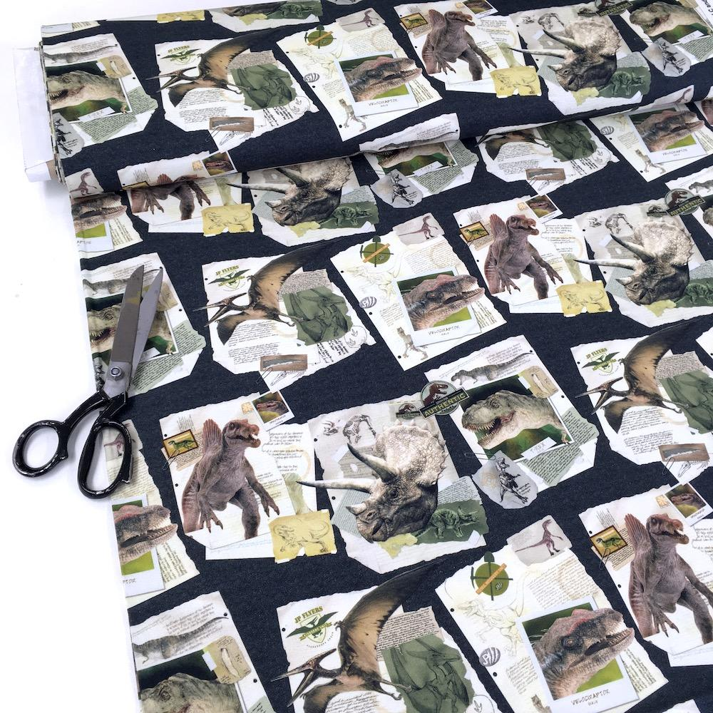 Licensed Jurassic World Dinosaur Notes - Cotton Canvas - Black Sewing and Dressmaking Fabric