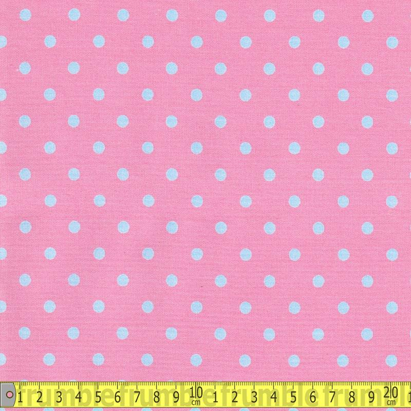 Linen Look Cotton - Dots Blue On Pink Fabric by Various