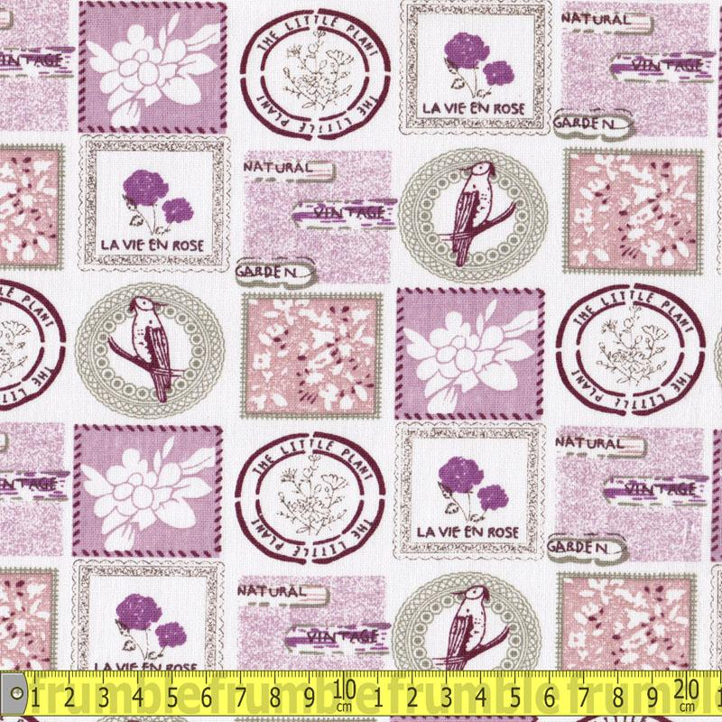 Linen Look Cotton - Stamps Lilac Fabric by Various