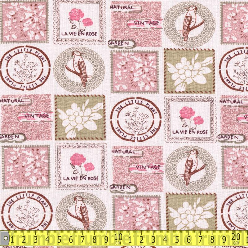 Linen Look Cotton - Stamps Pink Fabric by Various