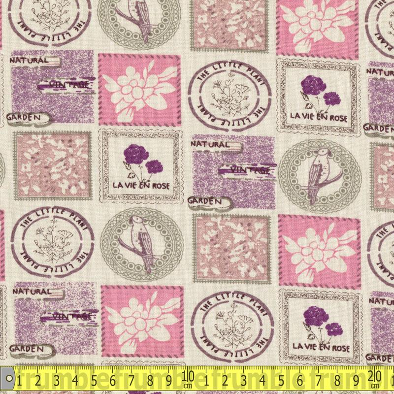 Linen Look Cotton - Stamps Sage Fabric by Various