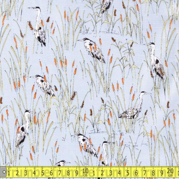 Herons Pale Blue Fabric by Makower Inprint