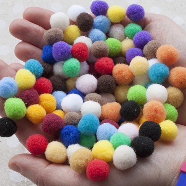 Medium Pom Pom Ball 100 Pack Rainbow Pack