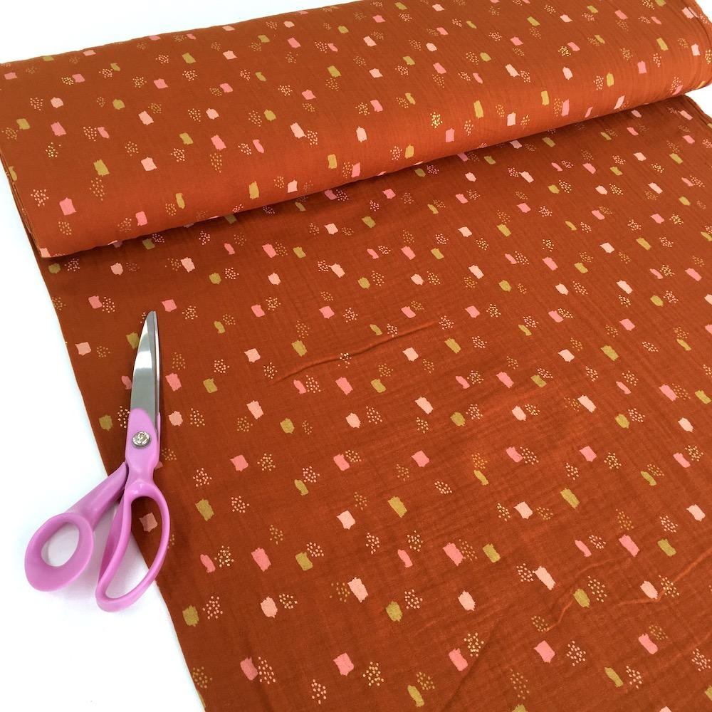 Metallic Dots and Squares - Double Gauze - Burnt Orange Sewing and Dressmaking Fabric