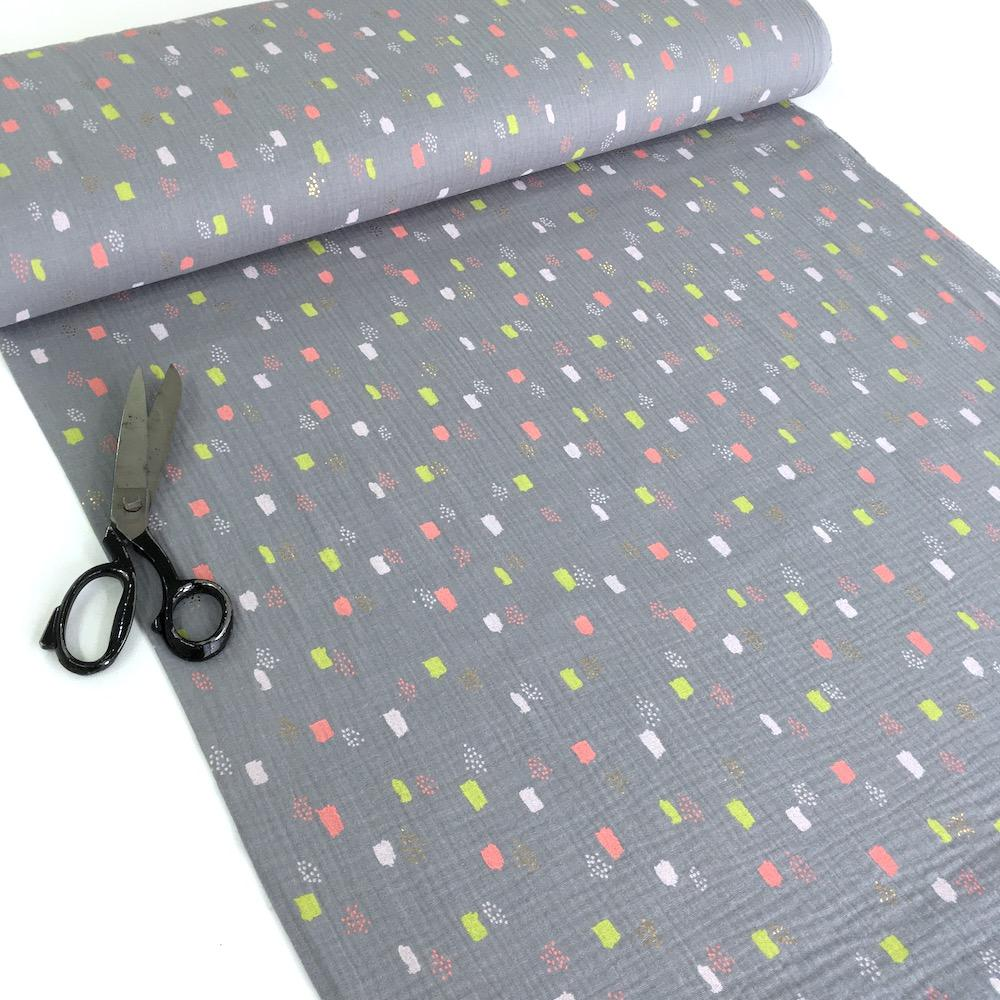 Metallic Dots and Squares - Double Gauze - Grey Sewing and Dressmaking Fabric