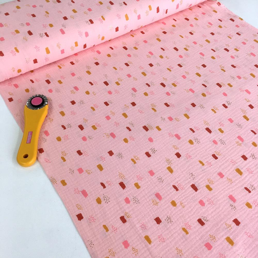 Metallic Dots and Squares - Double Gauze - Pink Sewing and Dressmaking Fabric