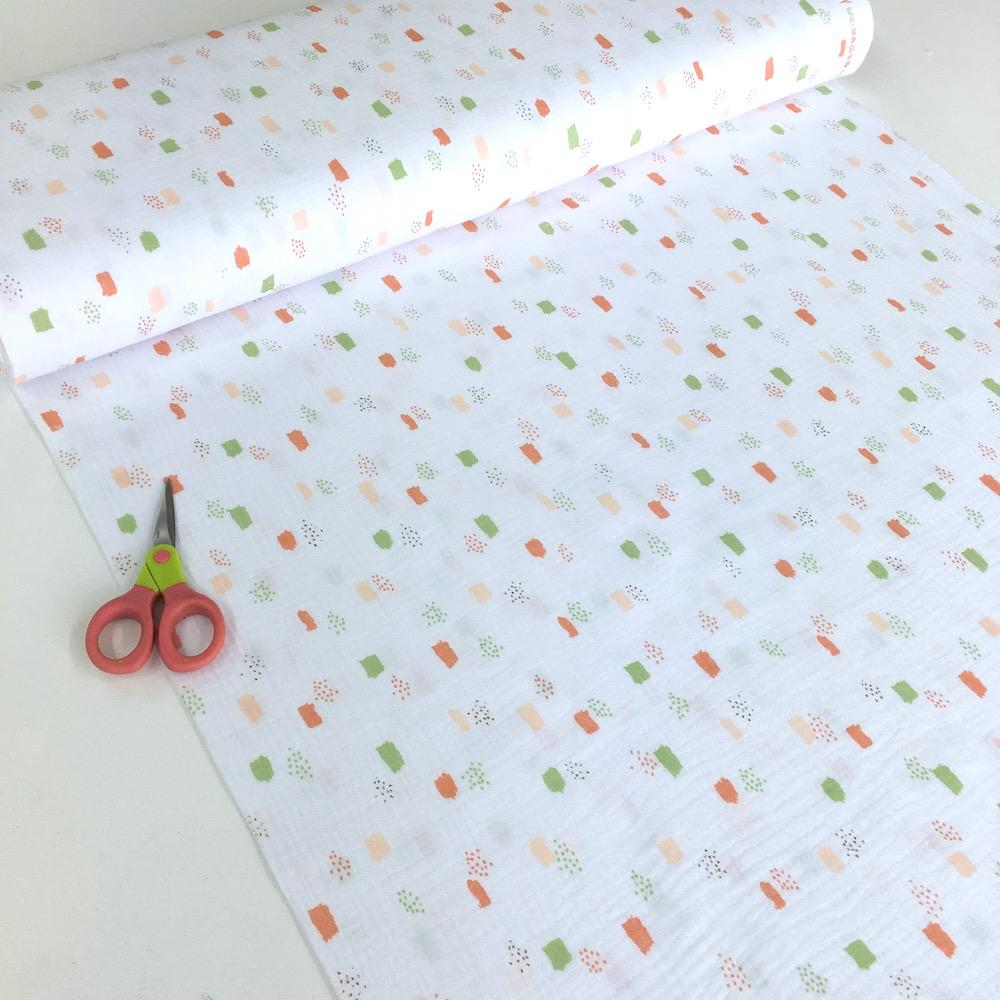 Metallic Dots and Squares - Double Gauze - White Sewing and Dressmaking Fabric