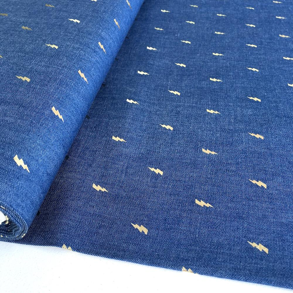 Metallic Lightning Bolts - Cotton Chambray Denim - Blue Sewing and Dressmaking Fabric