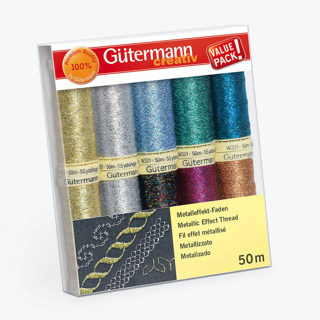 Gutermann Metallic Effect Thread - 10 Reels - Frumble Fabrics
