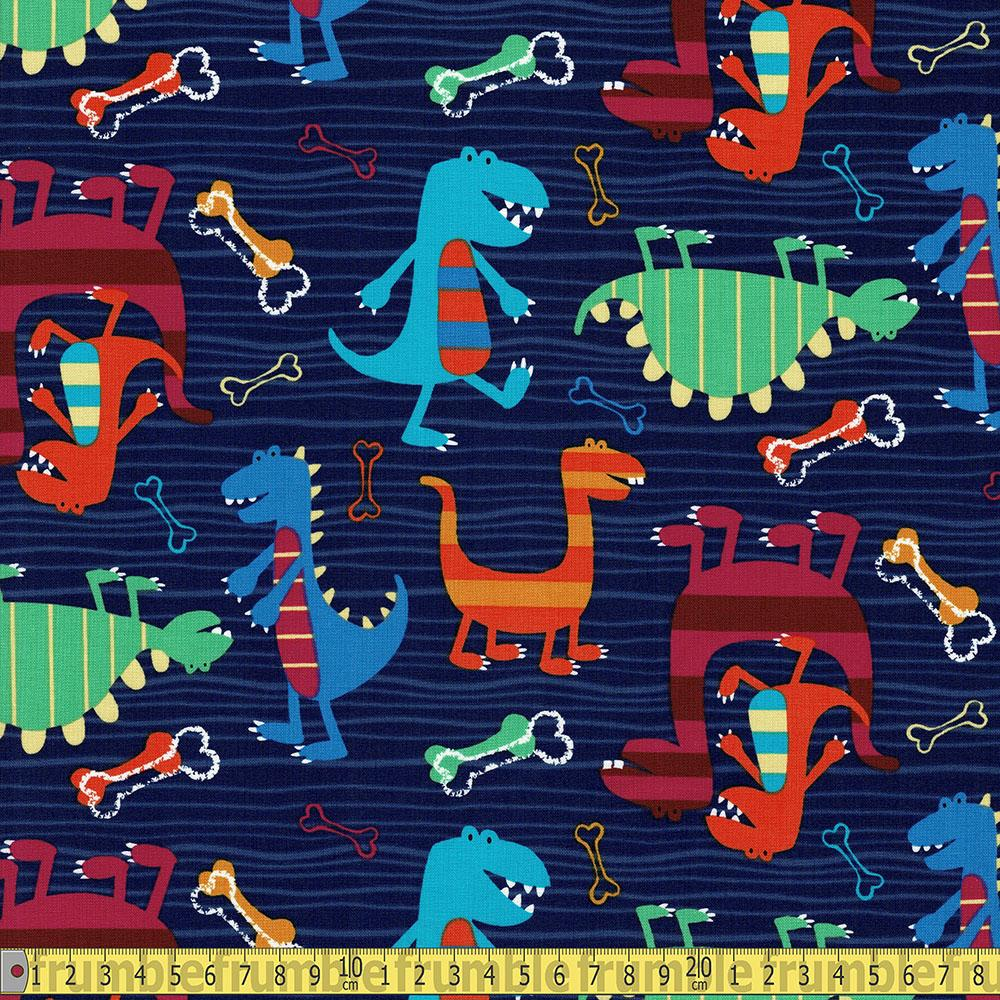 Michael Miller - Dino World - Dino Dudes Midnight Sewing Fabric