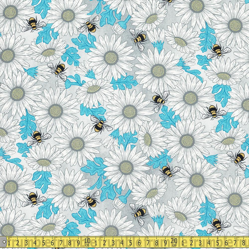 Michael Miller - Queen Bee by Diane Kappa - Feed The Bees Grey Sewing Fabric