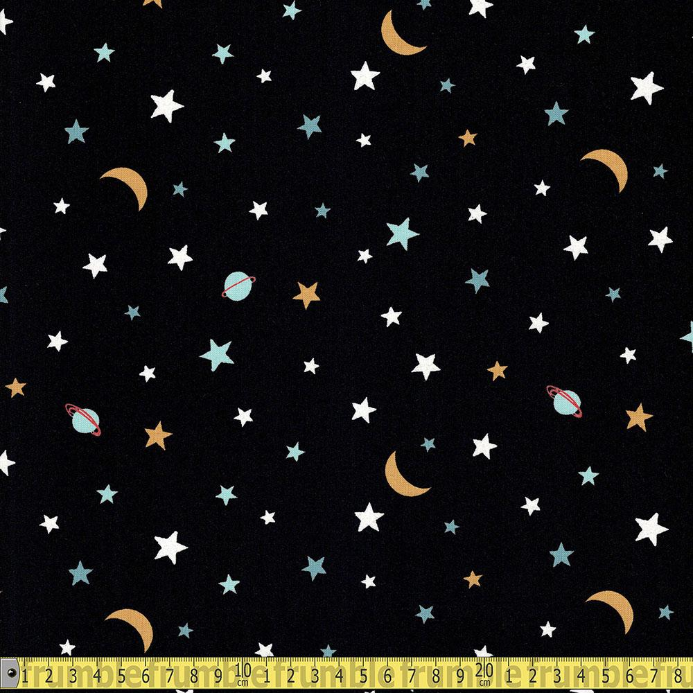 Michael Miller - Super Feed - Galactic Glow In The Dark Black Sewing Fabric
