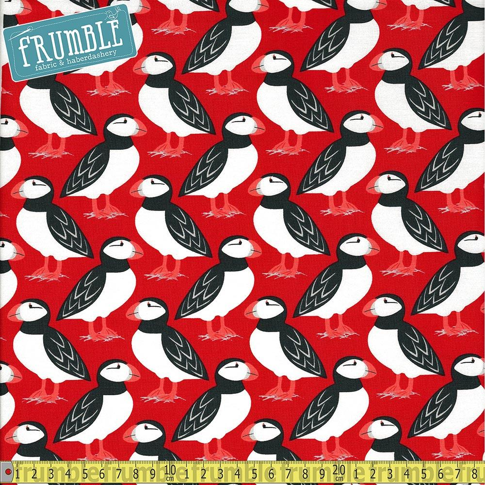 Puffin Perch Red Fabric by Michael Miller