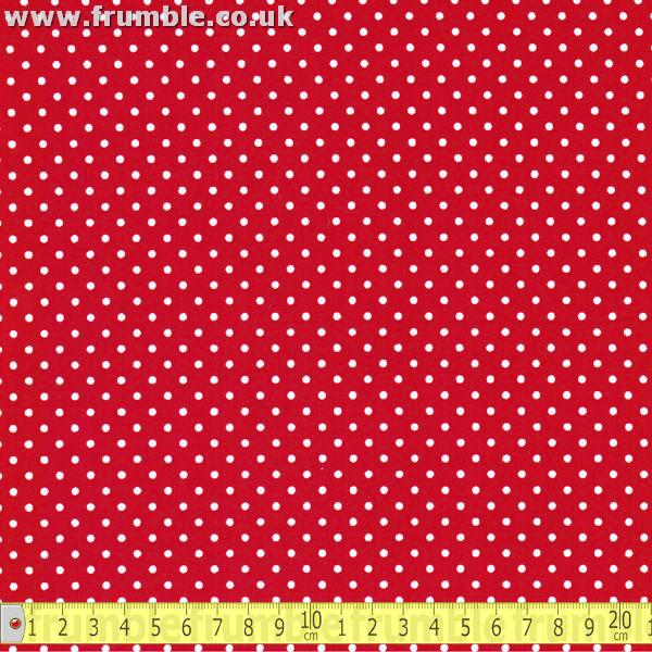 Mini 3mm Polka Dot Red (Per Metre) - Frumble Fabrics
