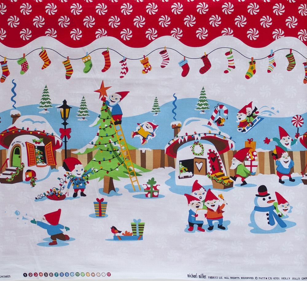 Holly Jolly Gnomes Border Fabric by Michael Miller