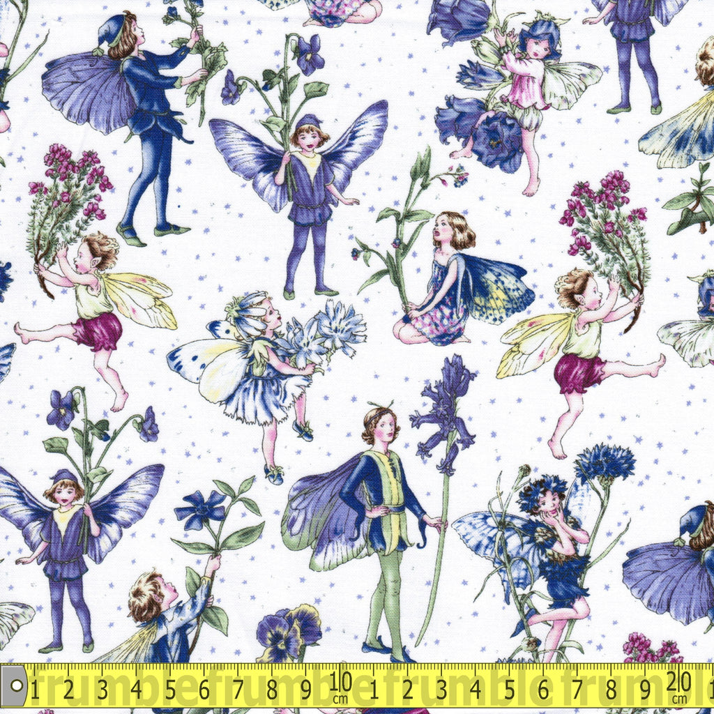 Petite Fairies Periwinkle Fabric by Michael Miller