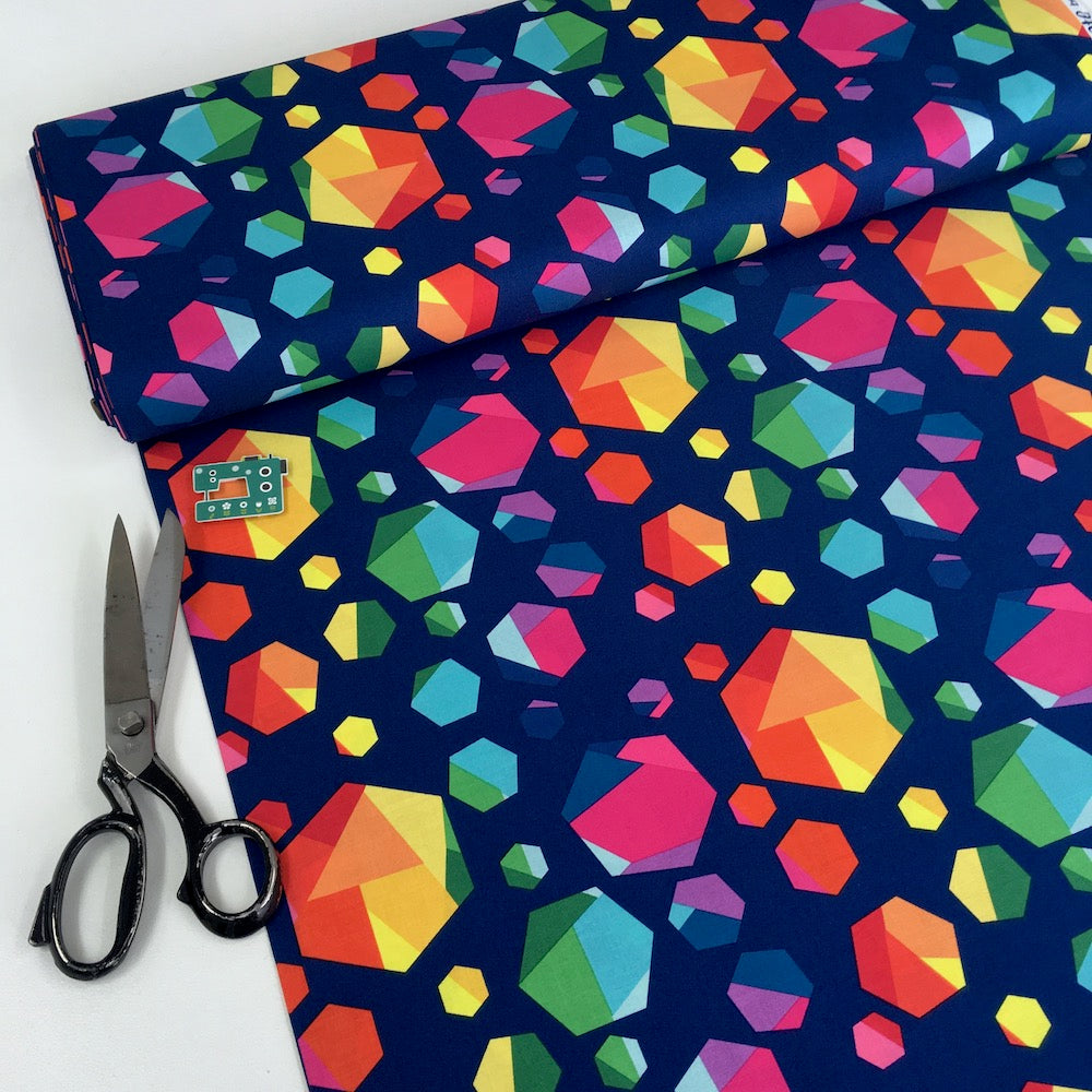 Riley Blake - Create - Rainbow Hexagons Navy