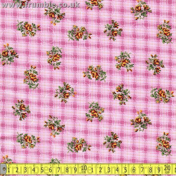 Floral Circles Pink / Pink Fabric by Various