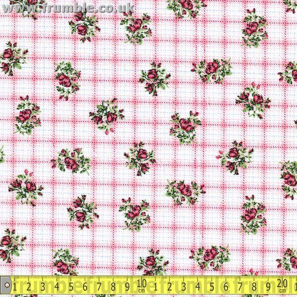 Floral Circles Pink / White Fabric by Various