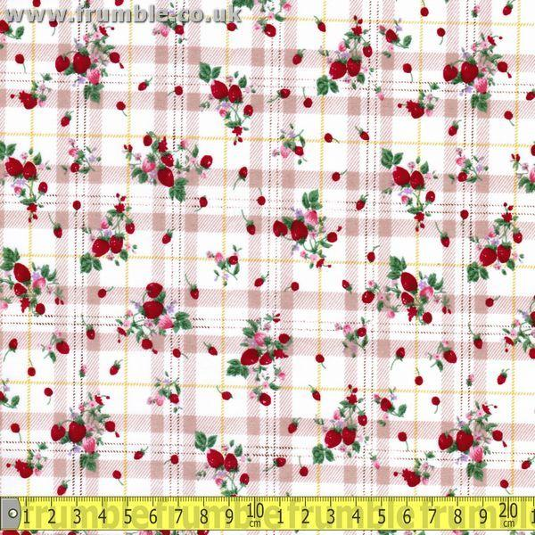 Strawberry Tartan Biege (Per Metre) - Frumble Fabrics