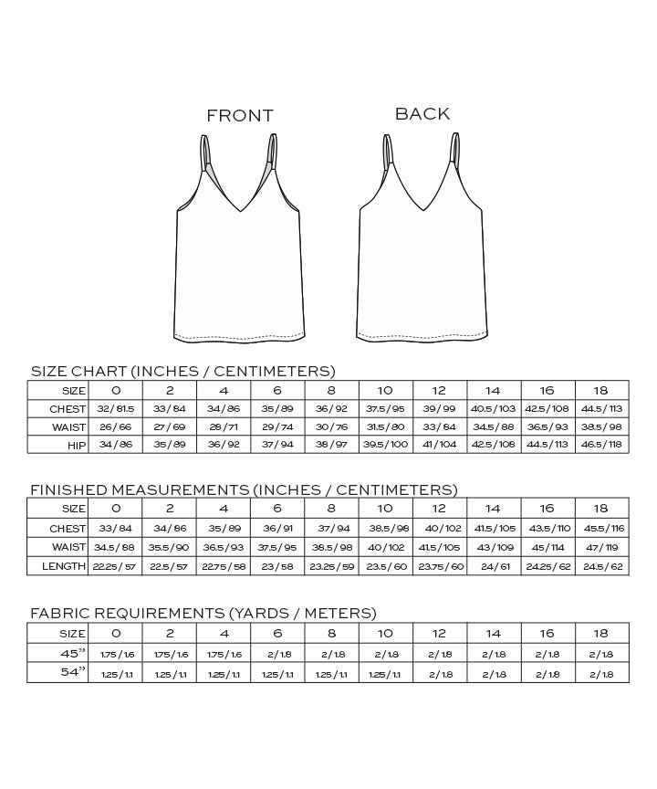 True Bias Ogden Cami dressmaking Pattern