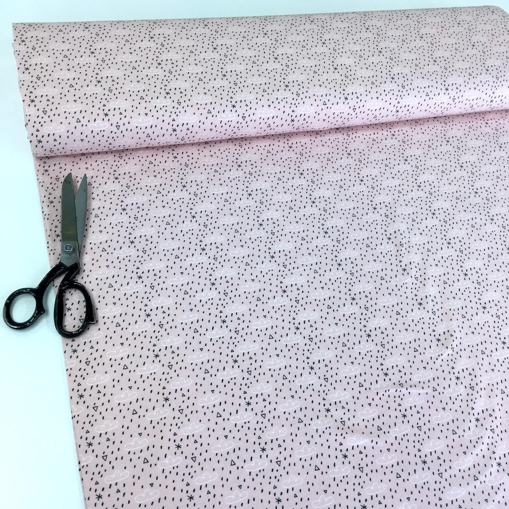 Organic Cute Rain Clouds - GOTS Cotton Jersey - Pink Sewing and Dressmaking Fabric