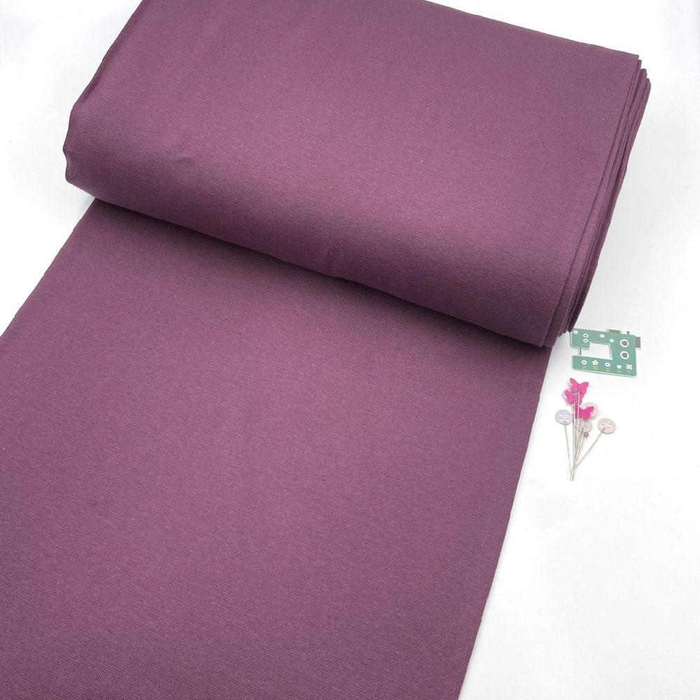 Organic GOTS - Plain Cotton Ribbing Tube - Aubergine Purple Sewing and Dressmaking Fabric