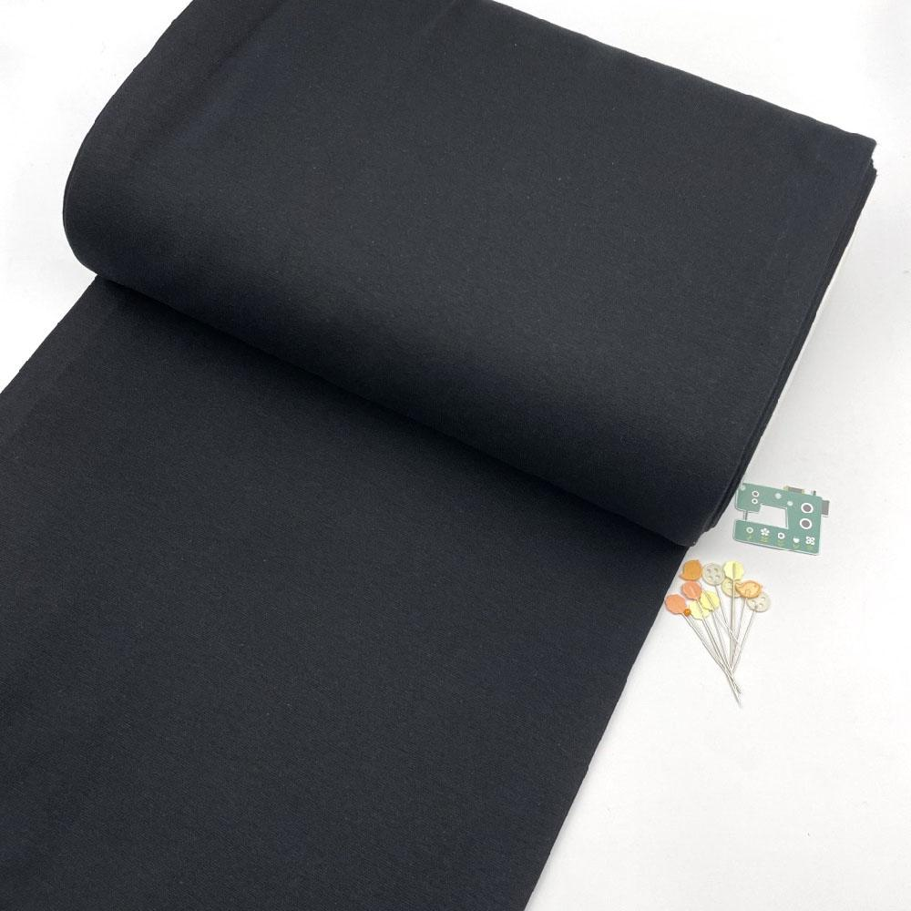 Organic GOTS - Plain Cotton Ribbing Tube - Black Sewing and Dressmaking Fabric