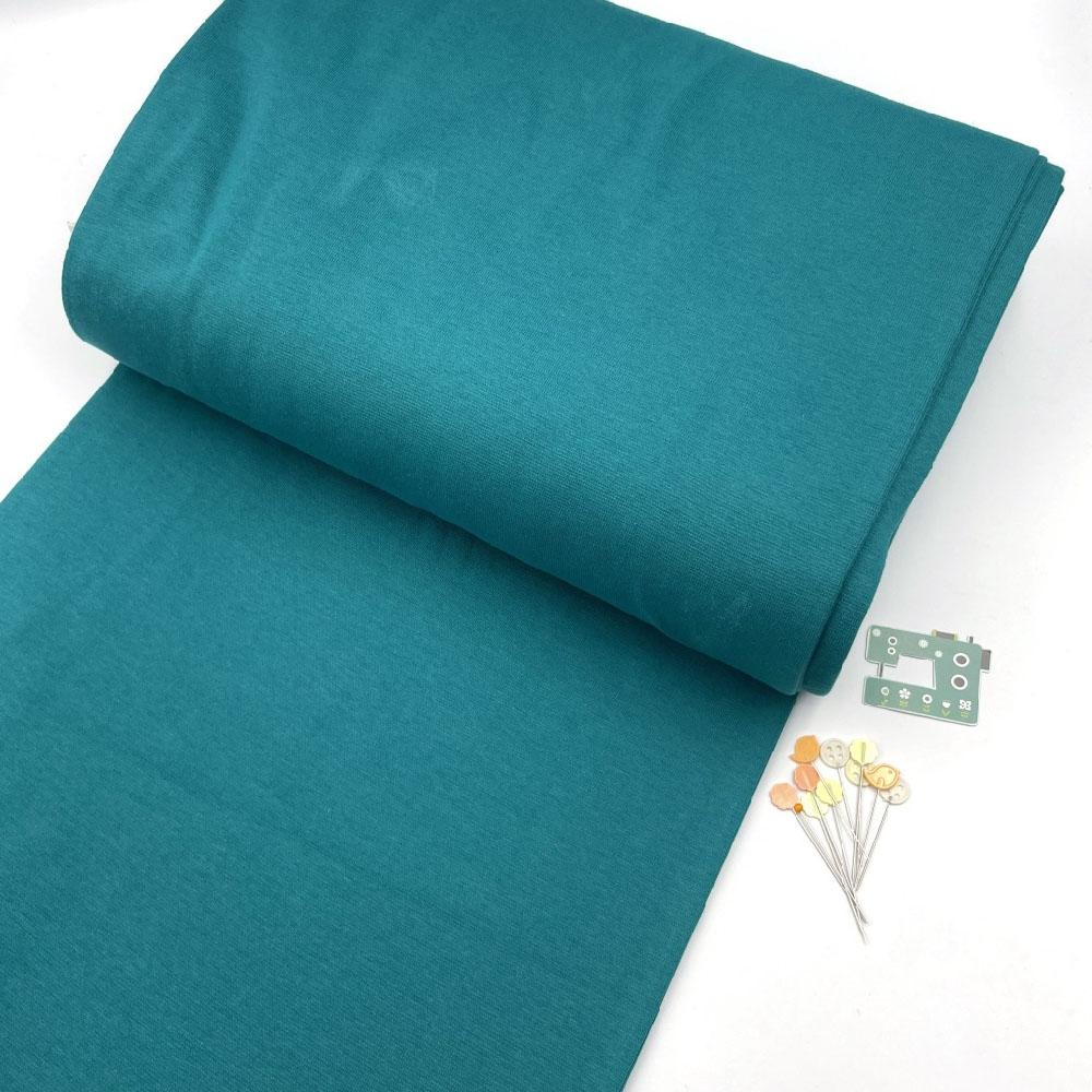 Organic GOTS - Plain Cotton Ribbing Tube - Petrol Teal Sewing and Dressmaking Fabric