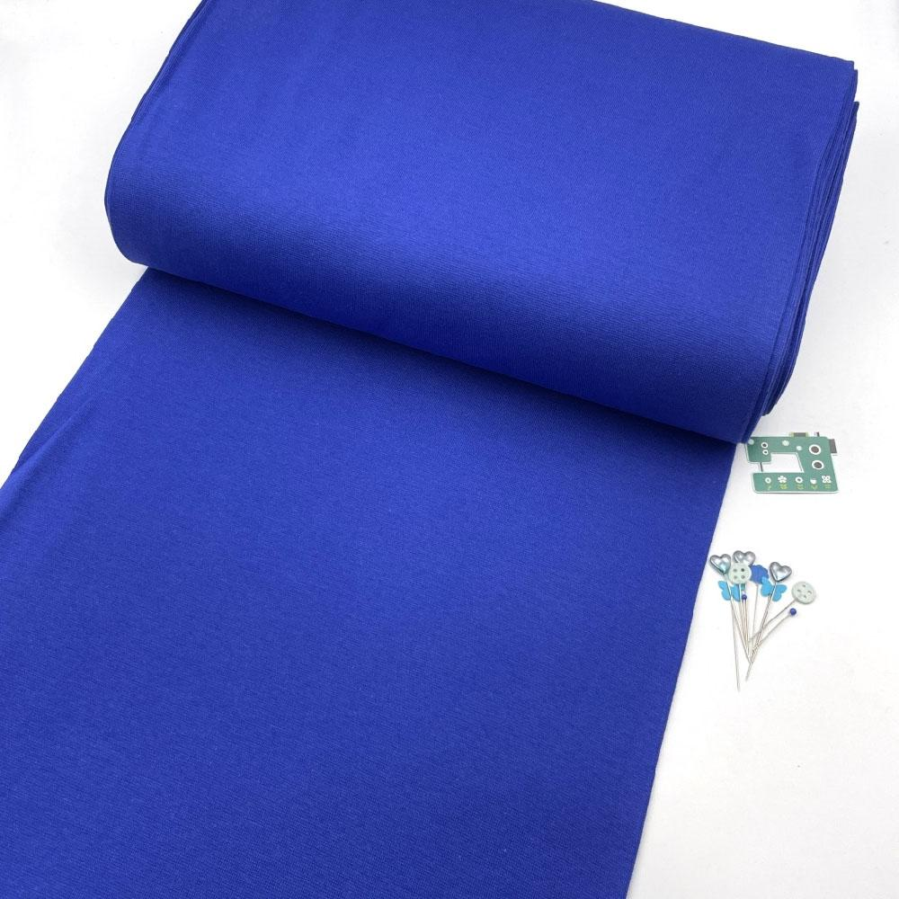 Organic GOTS - Plain Cotton Ribbing Tube - Royal Blue Sewing and Dressmaking Fabric