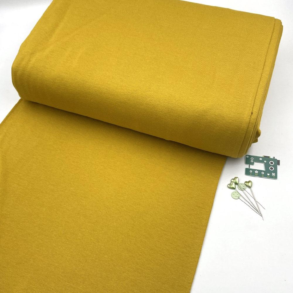 Organic GOTS - Plain Cotton Ribbing Tube - Sunny Mustard Sewing and Dressmaking Fabric