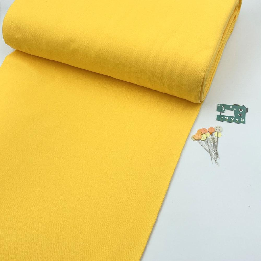 Organic GOTS - Plain Cotton Ribbing Tube - Sunny Yellow Sewing and Dressmaking Fabric
