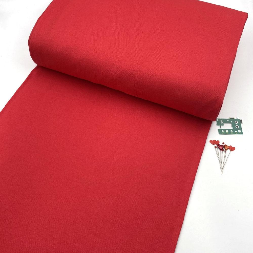 Organic GOTS - Plain Cotton Ribbing Tube - Tomato Red Sewing and Dressmaking Fabric