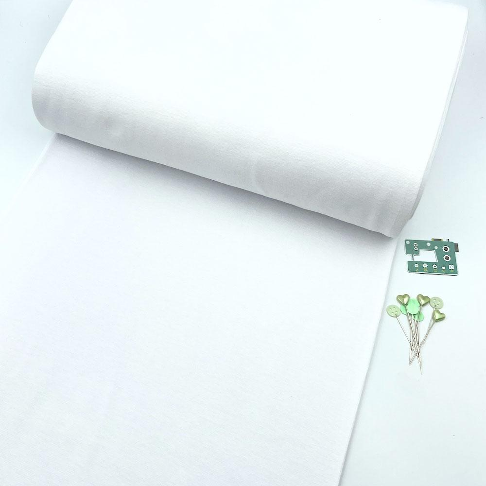 Organic GOTS - Plain Cotton Ribbing Tube - White Sewing and Dressmaking Fabric