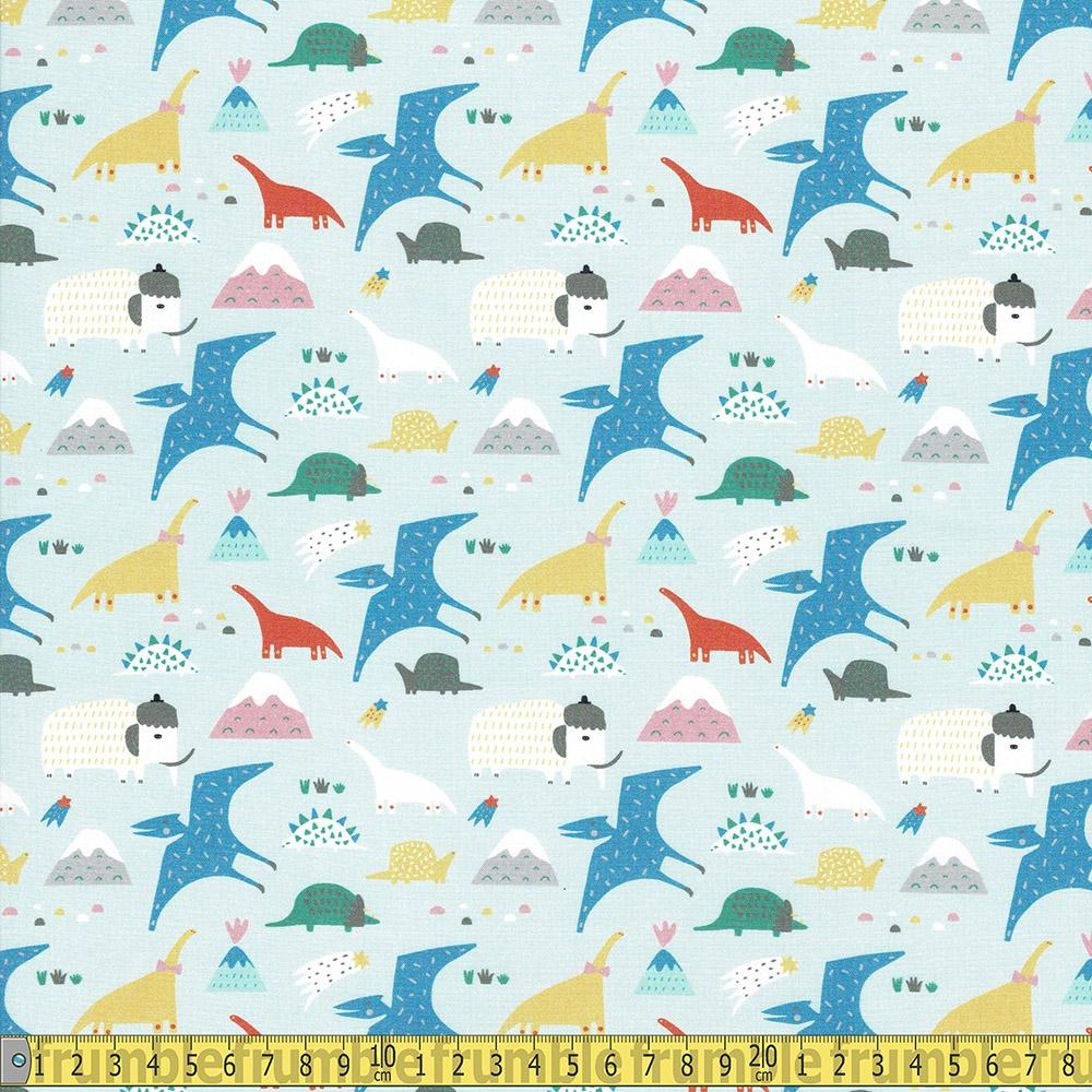 Paintbrush Studio - Animal Alphabet - Dinosaurs Blue  Sewing and Dressmaking Fabric