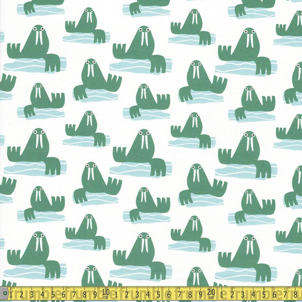 Paintbrush Studio - Animal Kingdom - Walrus Green Sewing Fabric