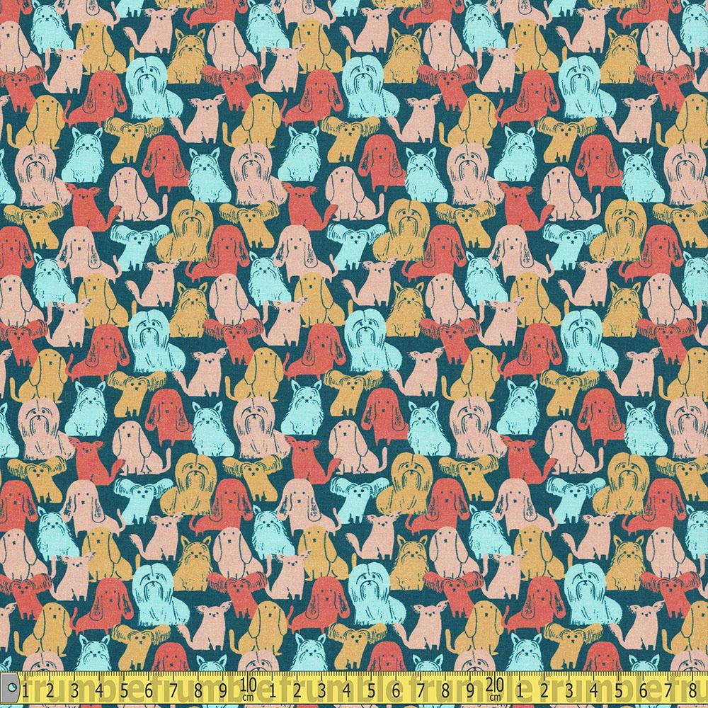 Paintbrush Studio - Best In Show - Small Dogs Navy Sewing Fabric