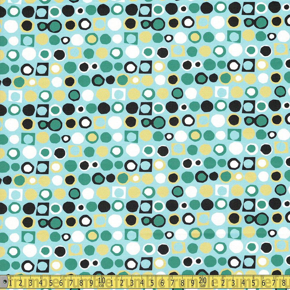 Paintbrush Studio - Flutter - Circle Blocks Blue Sewing Fabric