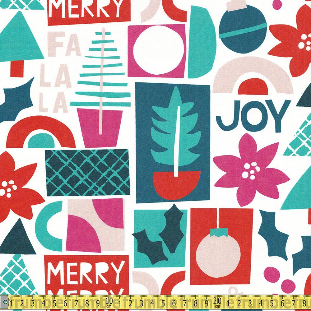 Paintbrush Studio - Handmade Holiday - Collage Words White Sewing Fabric