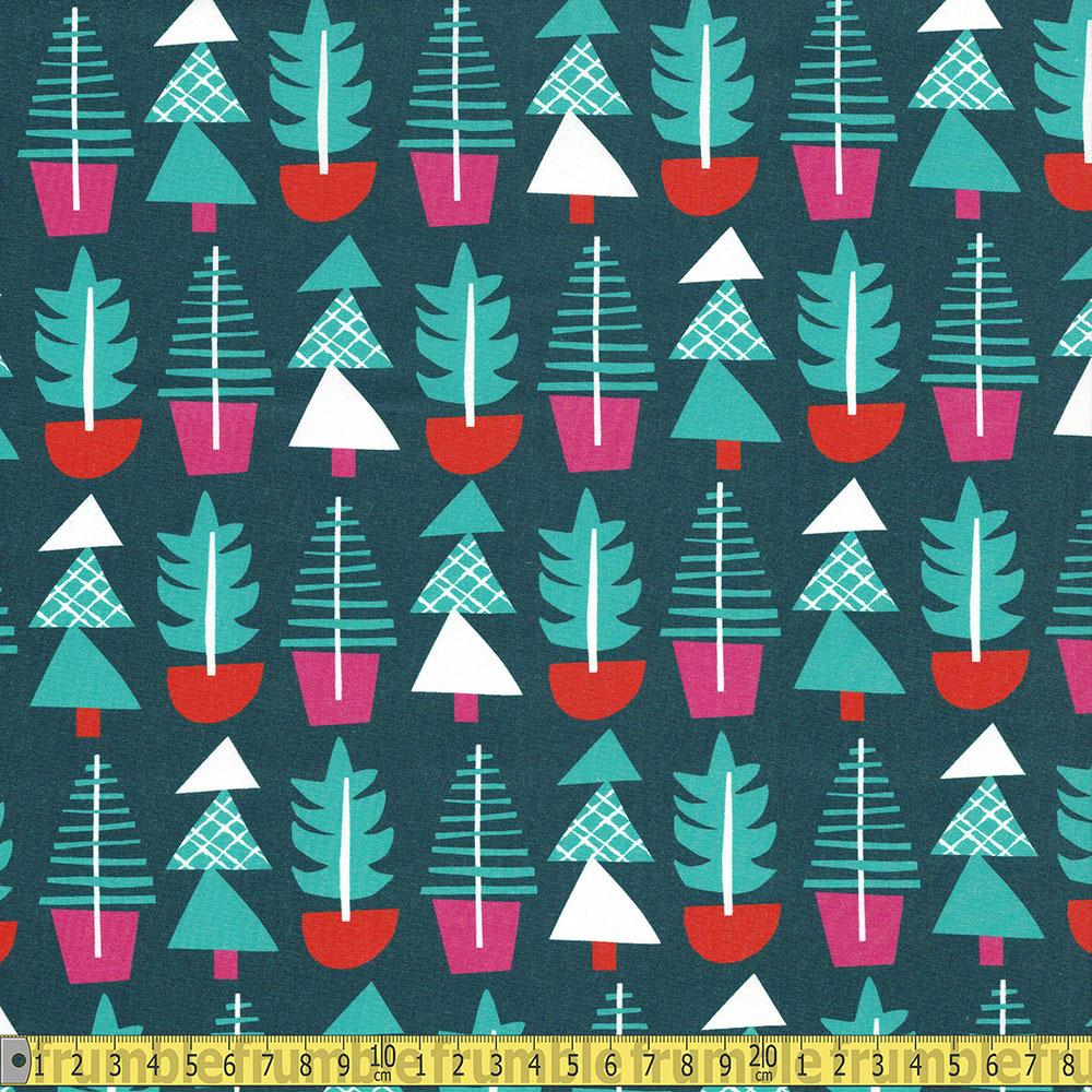 Paintbrush Studio - Handmade Holiday - Trees Green Sewing Fabric