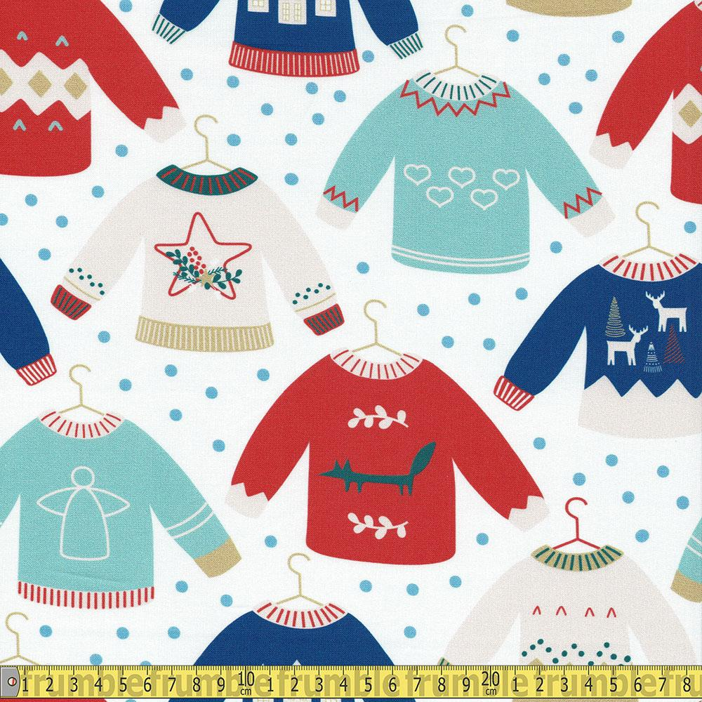 Paintbrush Studio - Scandinavian Christmas - Jumpers White Sewing Fabric