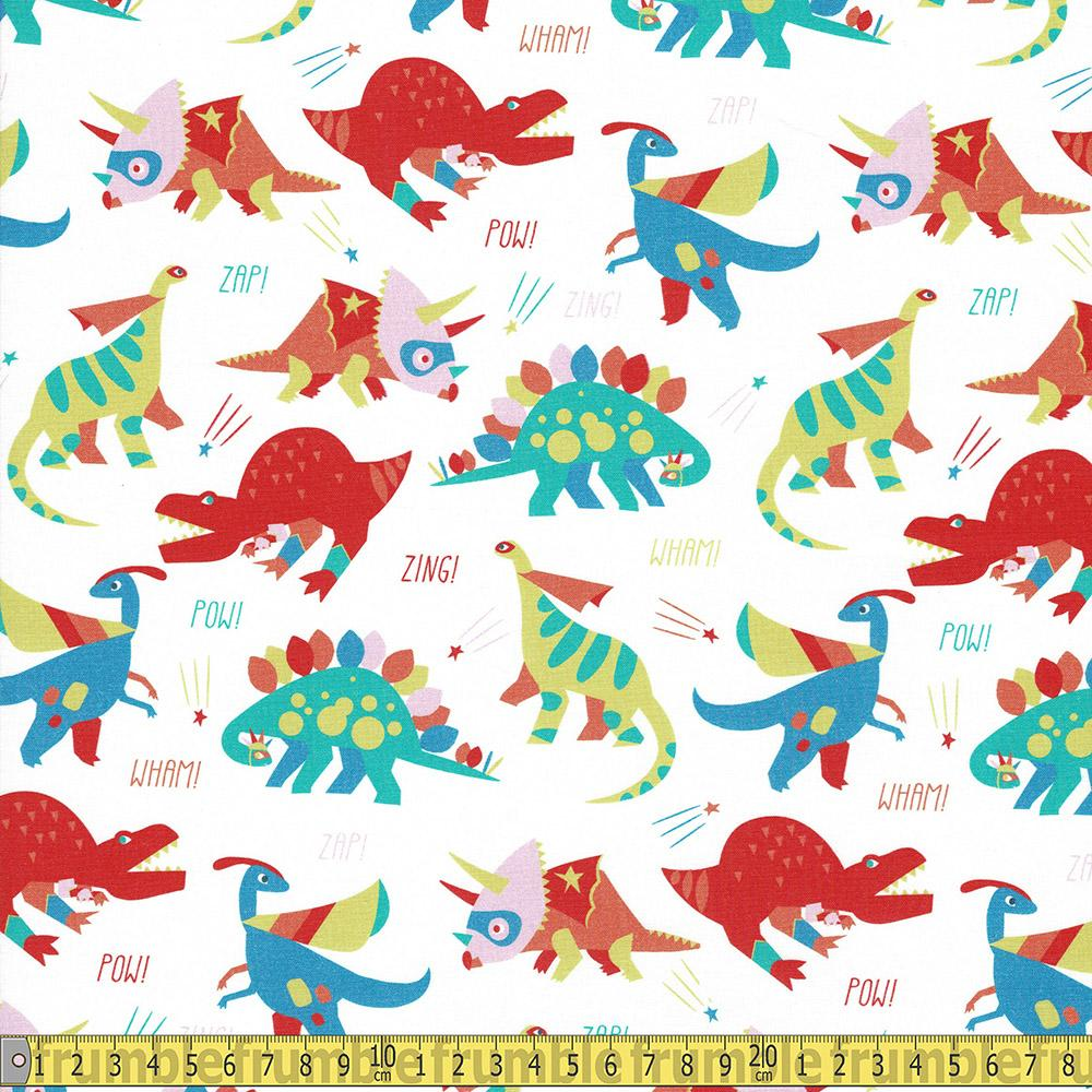 Paintbrush Studio - Super Dinos - Main White Sewing and Dressmaking Fabric