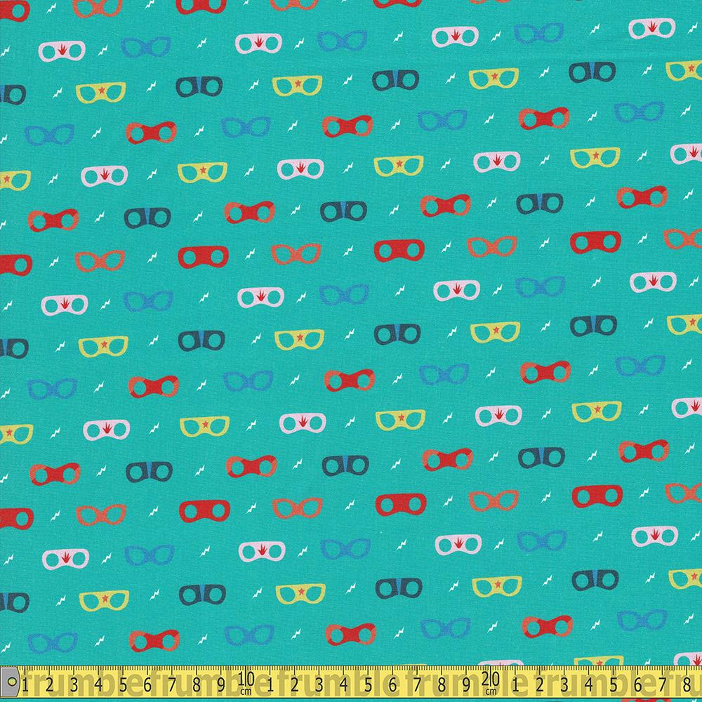 Paintbrush Studio - Super Dinos - Masks Teal Sewing and Dressmaking Fabric