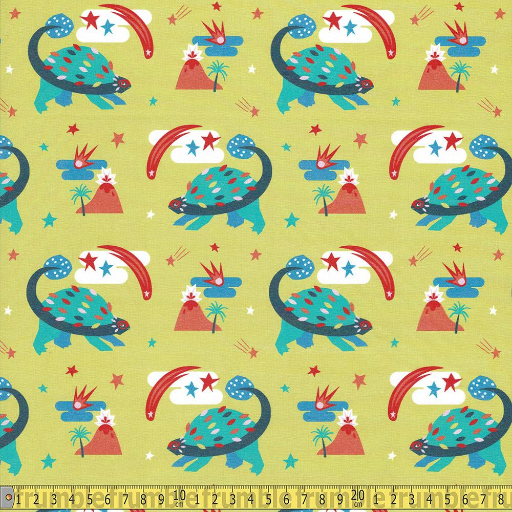 Paintbrush Studio - Super Dinos - Stegosaurus Gold Sewing and Dressmaking Fabric