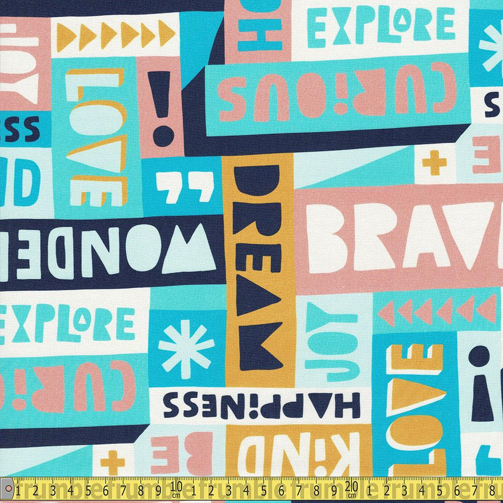 Paintbrush Studio - Wonder - Text Collage Blue Sewing Fabric